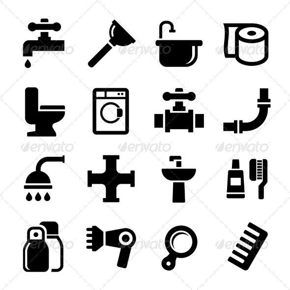 GraphicRiver Bathroom Icons Set on White Background 7456387