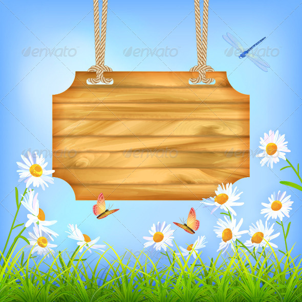 GraphicRiver Sky Green Grass Flowers Wood Board 7456525