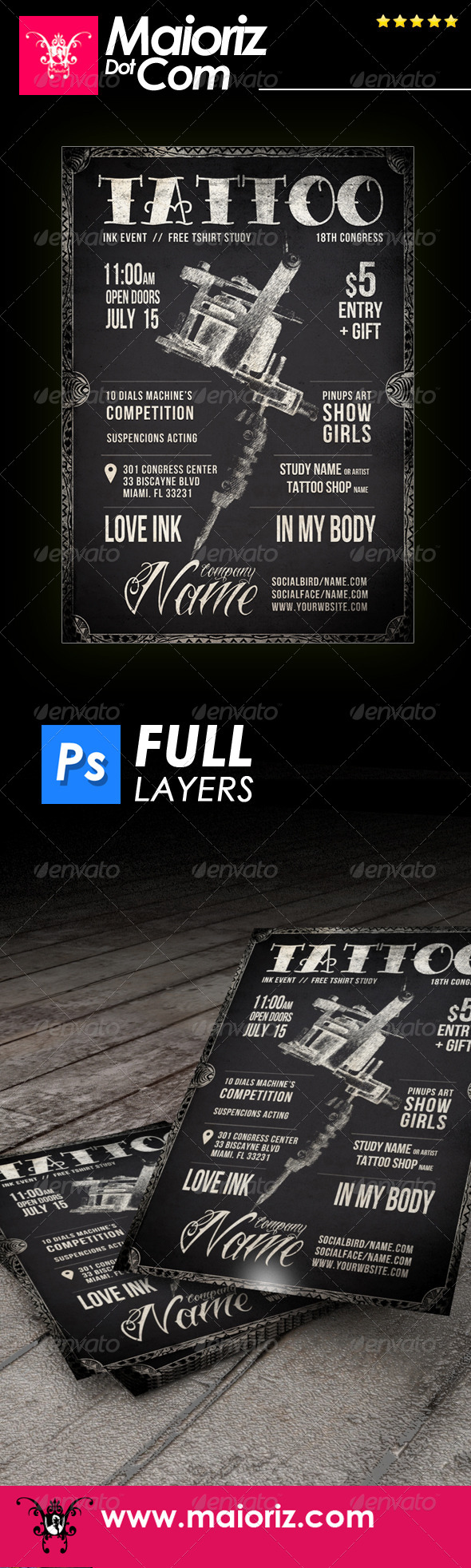 GraphicRiver Blackboard Tattoo Flyer 7456528