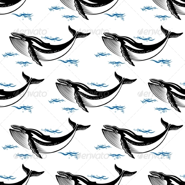 GraphicRiver Swimming Whale Seamless Pattern 7456882