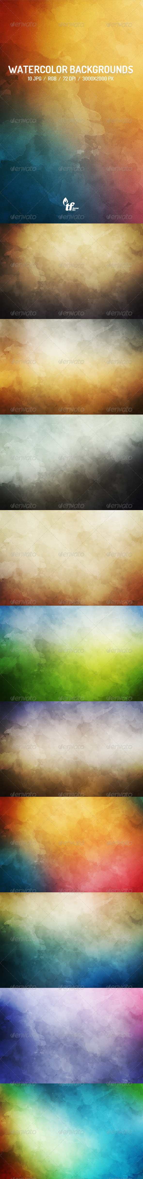 GraphicRiver 10 Watercolor Backgrounds 7457019