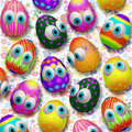 Easter Eggs Cartoon on Floral Pattern - PhotoDune Item for Sale