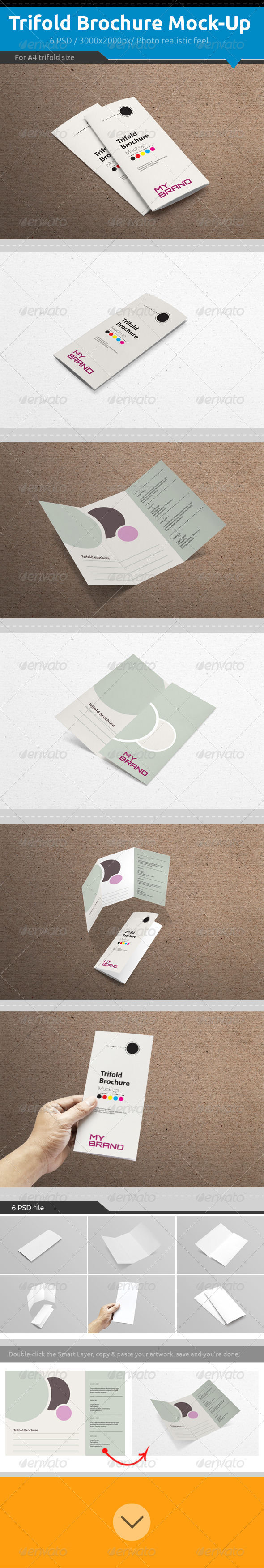 GraphicRiver Trifold Brochure Mock-Up 7458340