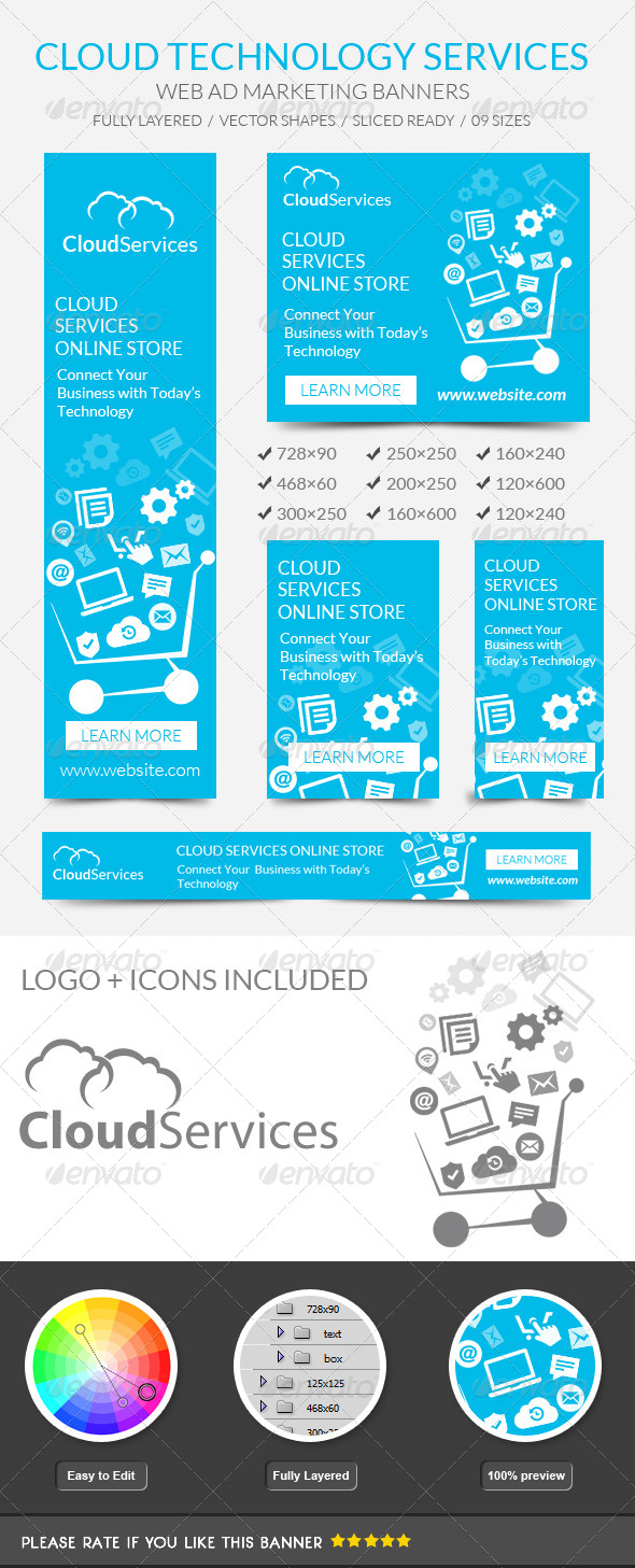 GraphicRiver Cloud Technology Banners 7458574
