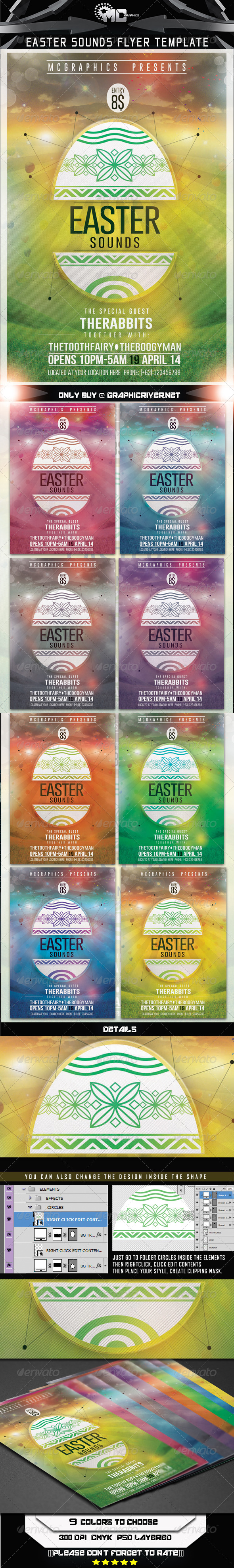 GraphicRiver Easter Sounds Flyer Template 7414993