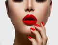 Red Sexy Lips and Nails closeup. Manicure and Makeup - PhotoDune Item for Sale