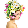 Beauty Spring Girl with Flowers Hair Style - PhotoDune Item for Sale