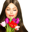 Beauty Woman with Spring Bouquet of Tulip Flowers - PhotoDune Item for Sale