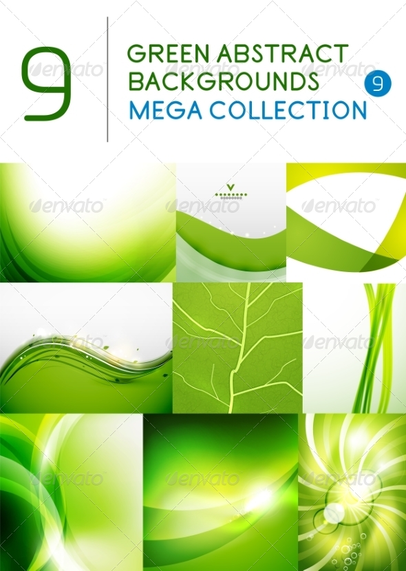 GraphicRiver Mega Set of green abstract backgrounds 7458875