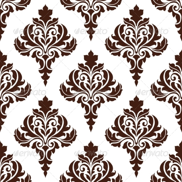 GraphicRiver Brown Damask Seamless Pattern Background 7458939
