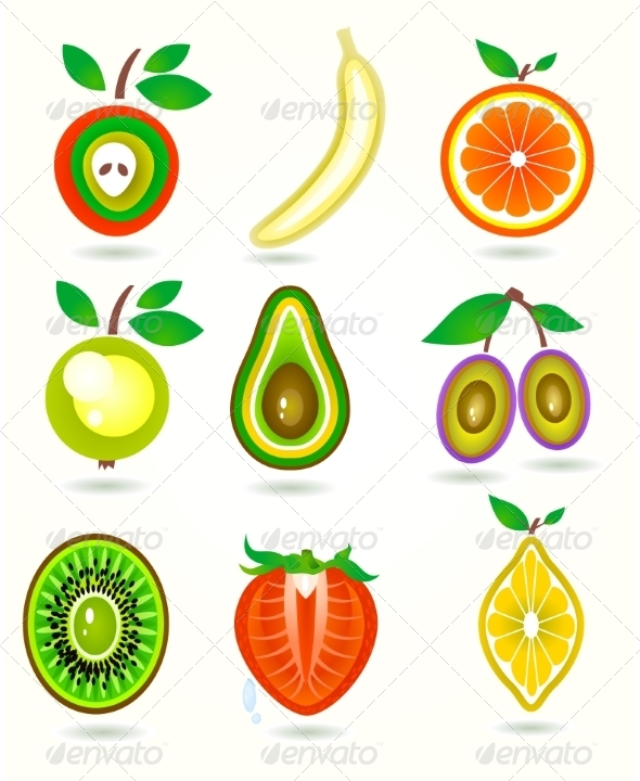 GraphicRiver Illustration of Stylized Cut Fruits 7459274