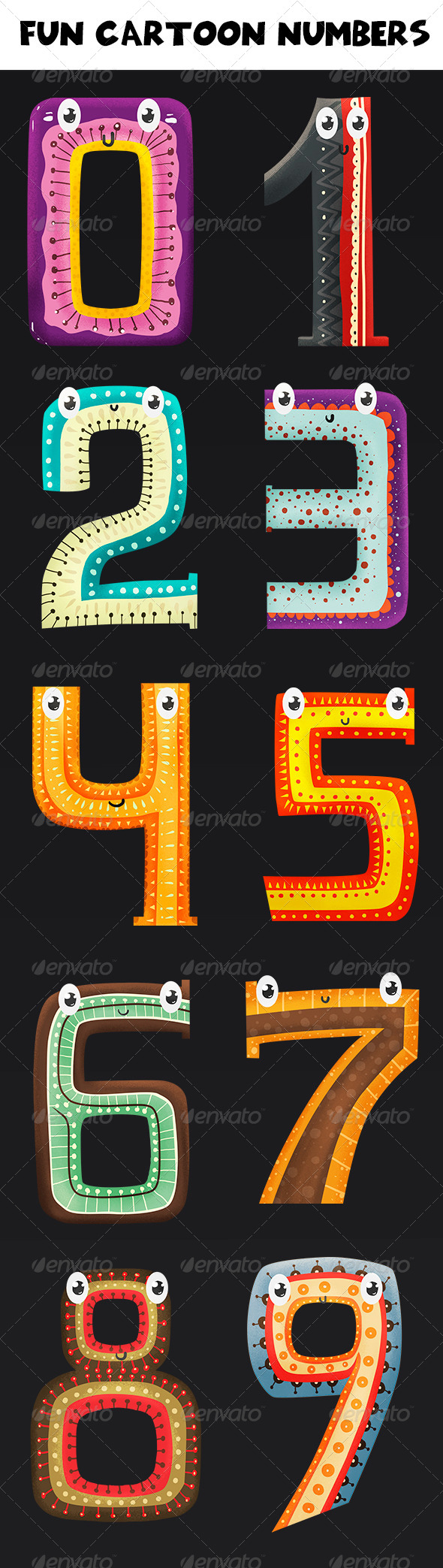 GraphicRiver Fun Cartoon Numbers 7450694