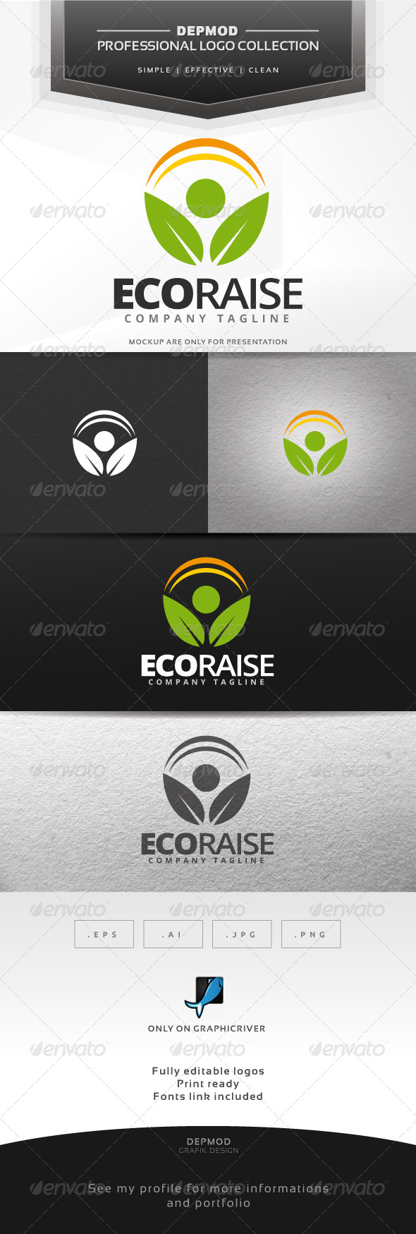 GraphicRiver Eco Raise Logo 7459976