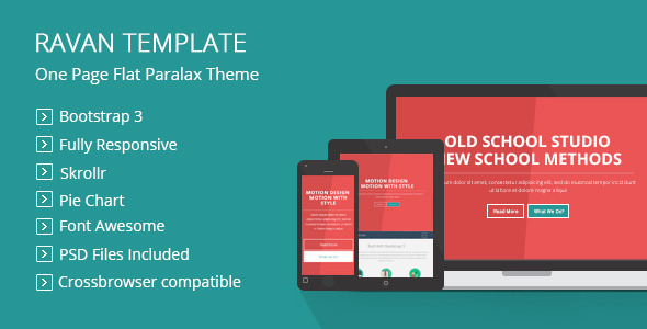 ThemeForest Ravan One Page Parallax Flat Responsive Template 7461711