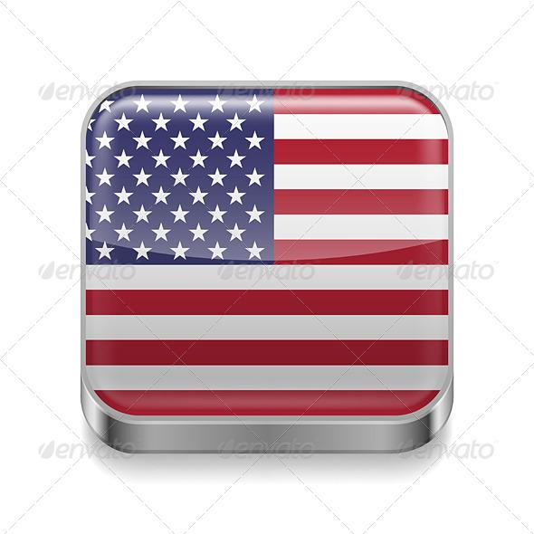 GraphicRiver Metal Icon of USA 7463575