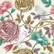 Vintage Roses Seamless Pattern with Birds - GraphicRiver Item for Sale