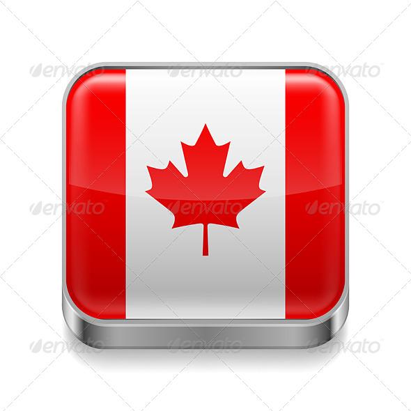 GraphicRiver Metal Icon of Canada 7465109
