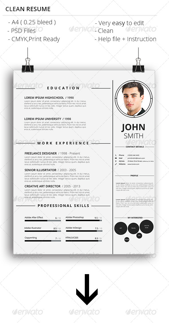 GraphicRiver Clean Resume 7465039