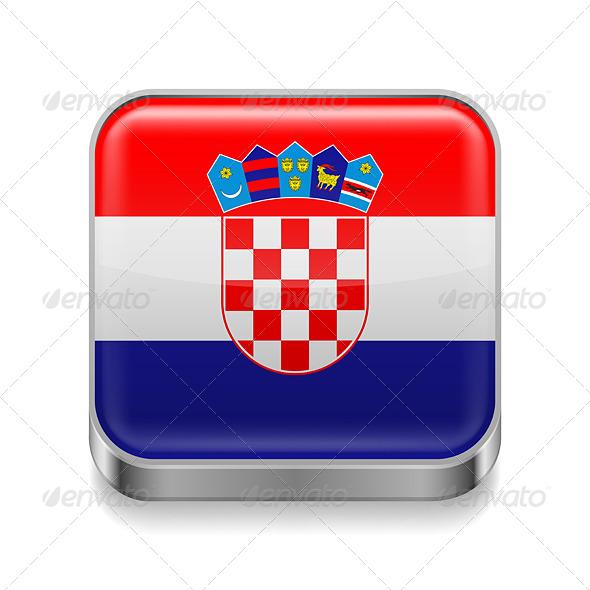 GraphicRiver Metal Icon of Croatia 7466531