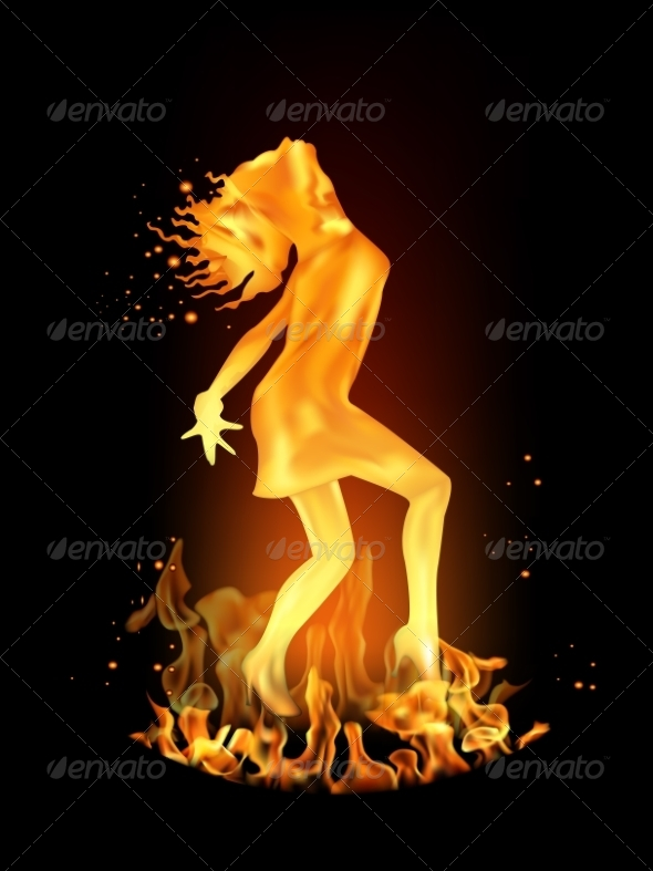 GraphicRiver Dancing Girl Made of Fire 7466592