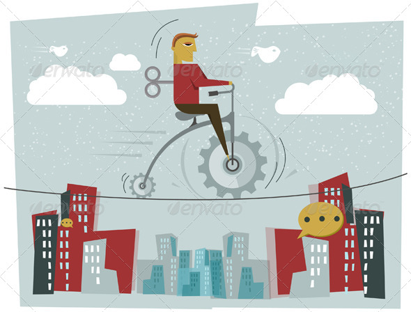 GraphicRiver Businessman Cycling on a Tight Rope 7466851