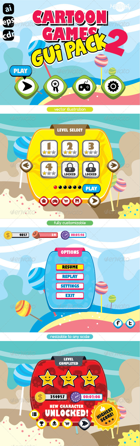 GraphicRiver Cartoon Games GUI Pack Vol 2 7467341
