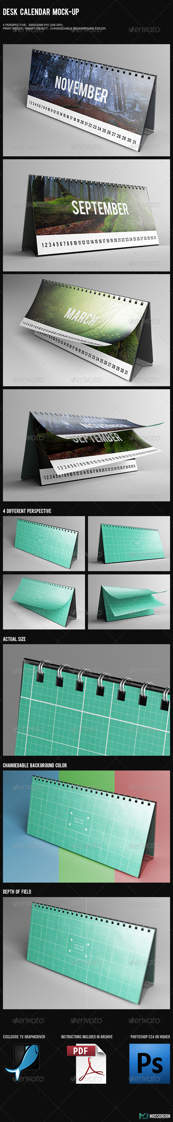 GraphicRiver Desk Calendar Mock-Up 7469052