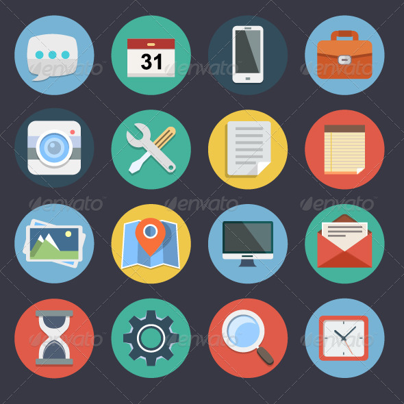 GraphicRiver Flat Icons for Web and Applications Set 1 7469300