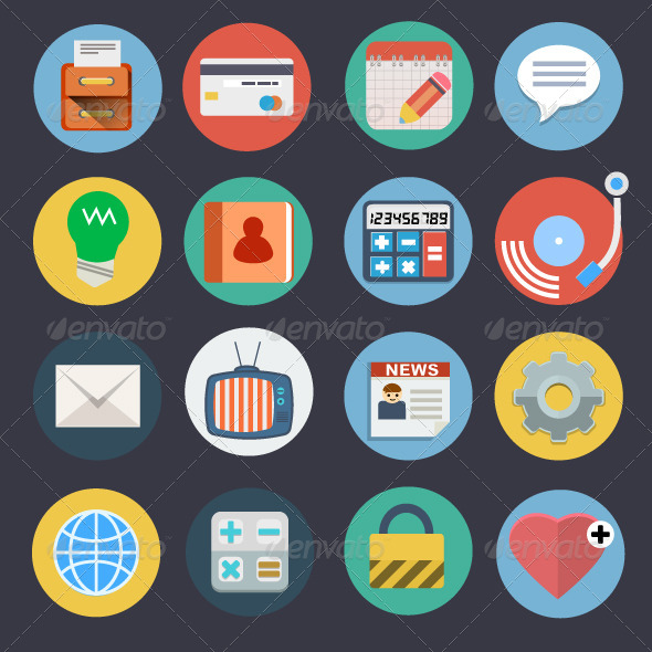 GraphicRiver Flat Icons for Web and Applications Set 2 7469307