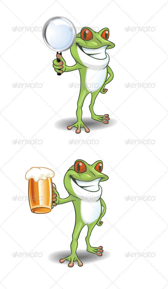 Frog with glass  - Animals Characters