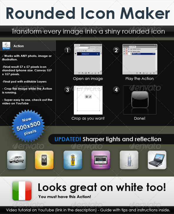 Rounded icon maker: generates gelly icons - Photoshop Add-ons
