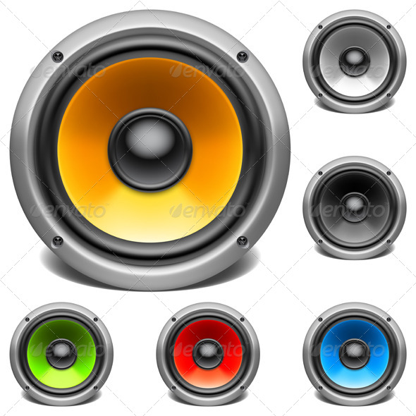 GraphicRiver Color Audio Speakers 7472075
