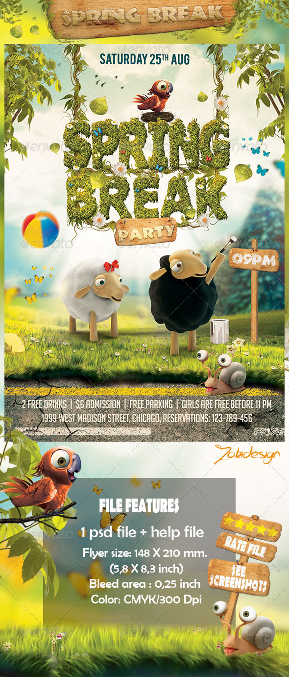 GraphicRiver Spring Break Party Flyer 7400604