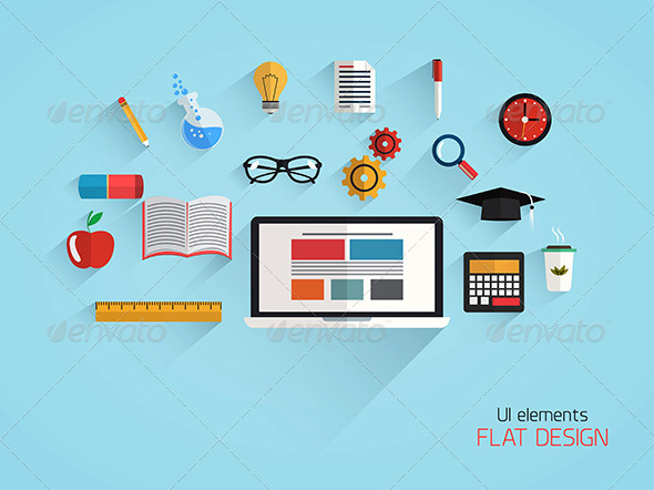 GraphicRiver Flat Design Concept of School and Education 7476028