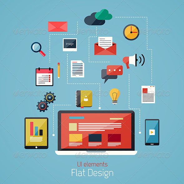 GraphicRiver Flat Design Modern Icons Set 7476034