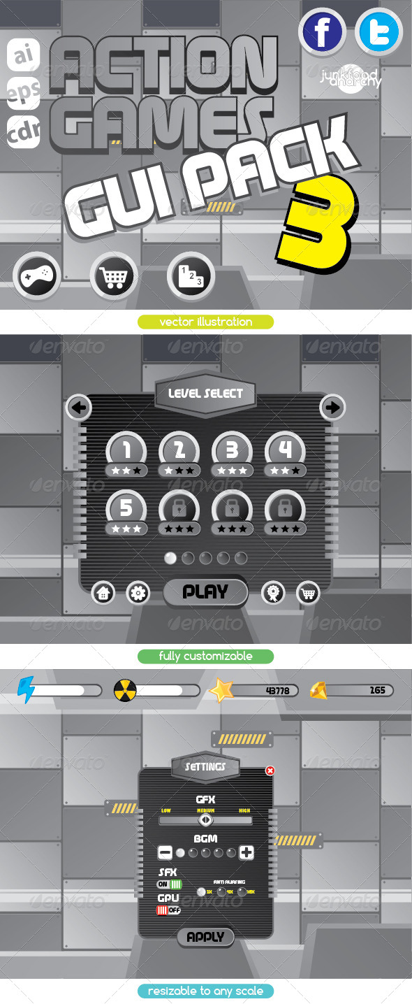 GraphicRiver Cartoon Games GUI Pack Vol 3 7476763