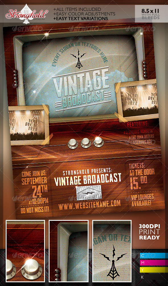 GraphicRiver Vintage Television Broadcast Event Template 7478693