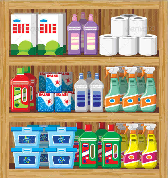 GraphicRiver Shelves with Household Chemicals 7479854
