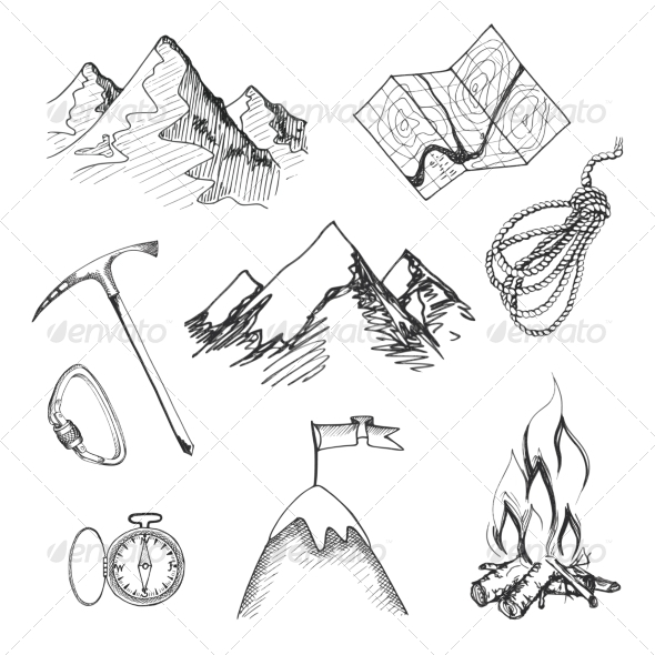 GraphicRiver Mountain Climbing Camping Icons 7480030