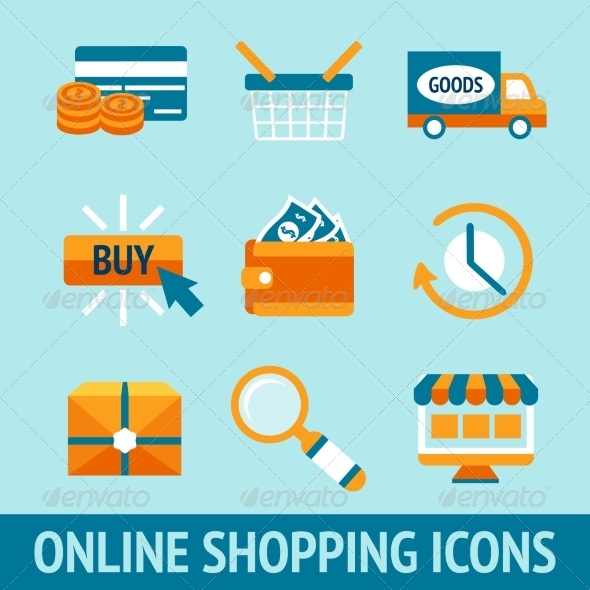 GraphicRiver Online Shopping Icons Set 7480153