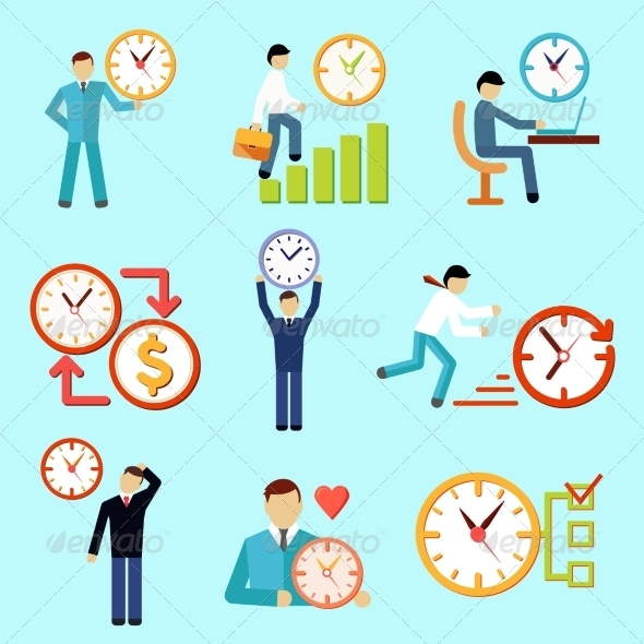 GraphicRiver Time Management Flat Icons 7480163