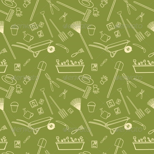 GraphicRiver Garden Tools Seamless Pattern 7480173