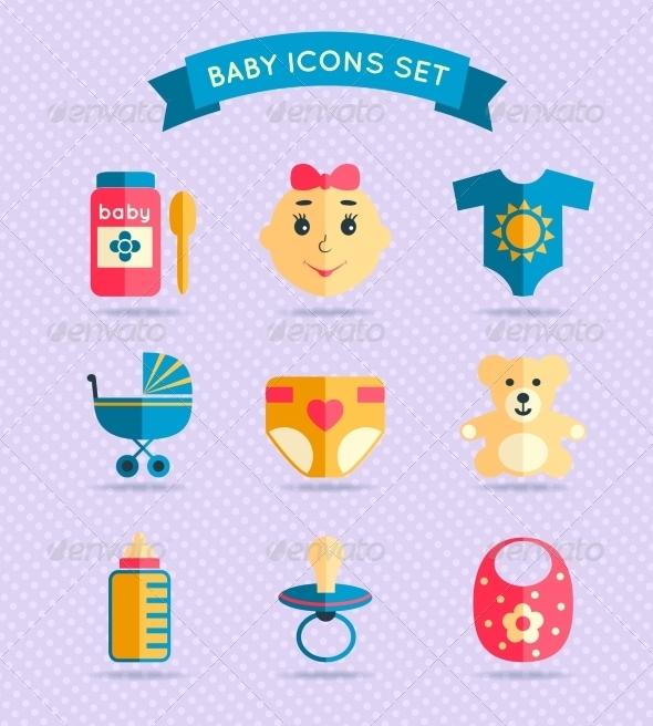 GraphicRiver Baby Child Icons Set 7480260
