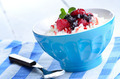 Cottage cheese with raspberries and blueberries - PhotoDune Item for Sale