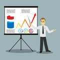 flat design businessman pointing at presentation board vector - PhotoDune Item for Sale