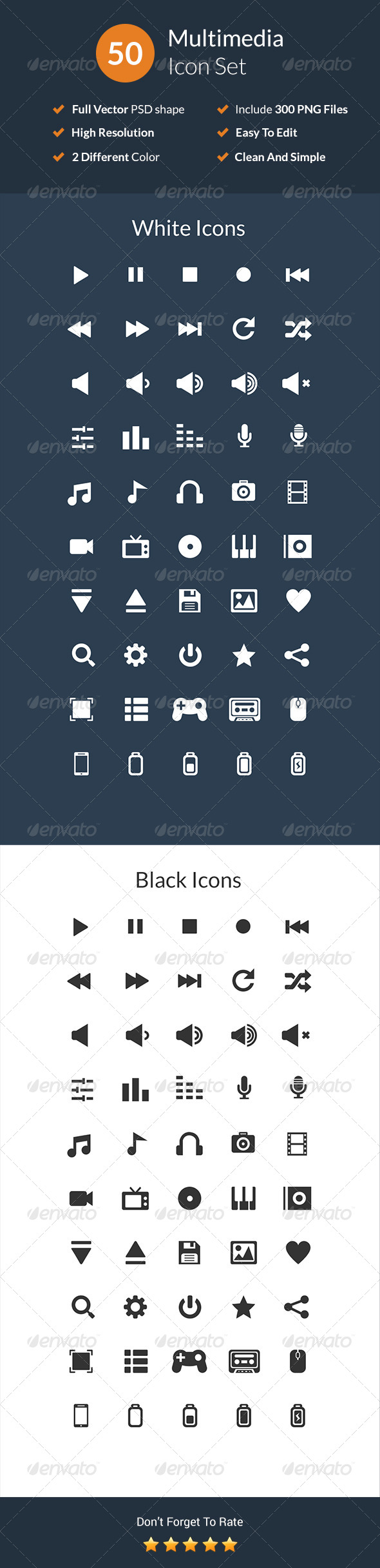 GraphicRiver 50 Multimedia Icon Set 7483291