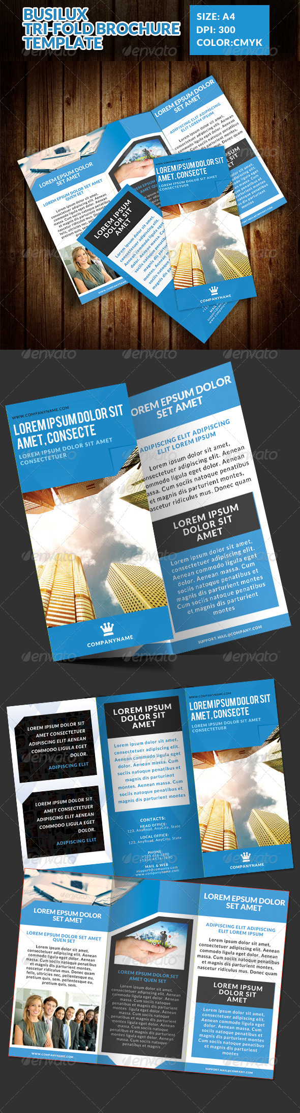 GraphicRiver Busilux Corporate Tri-Fold Brochure Template 7483928
