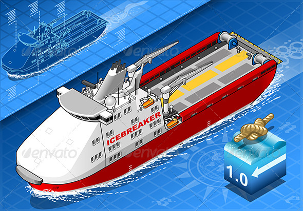 GraphicRiver Isometric Icebreaker Ship in Navigation in Front 7484059
