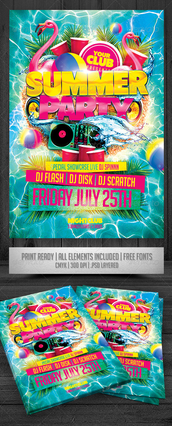GraphicRiver Summer Party Flyer 7485118