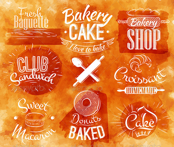GraphicRiver Bakery Characters Sign Watercolor 7485125